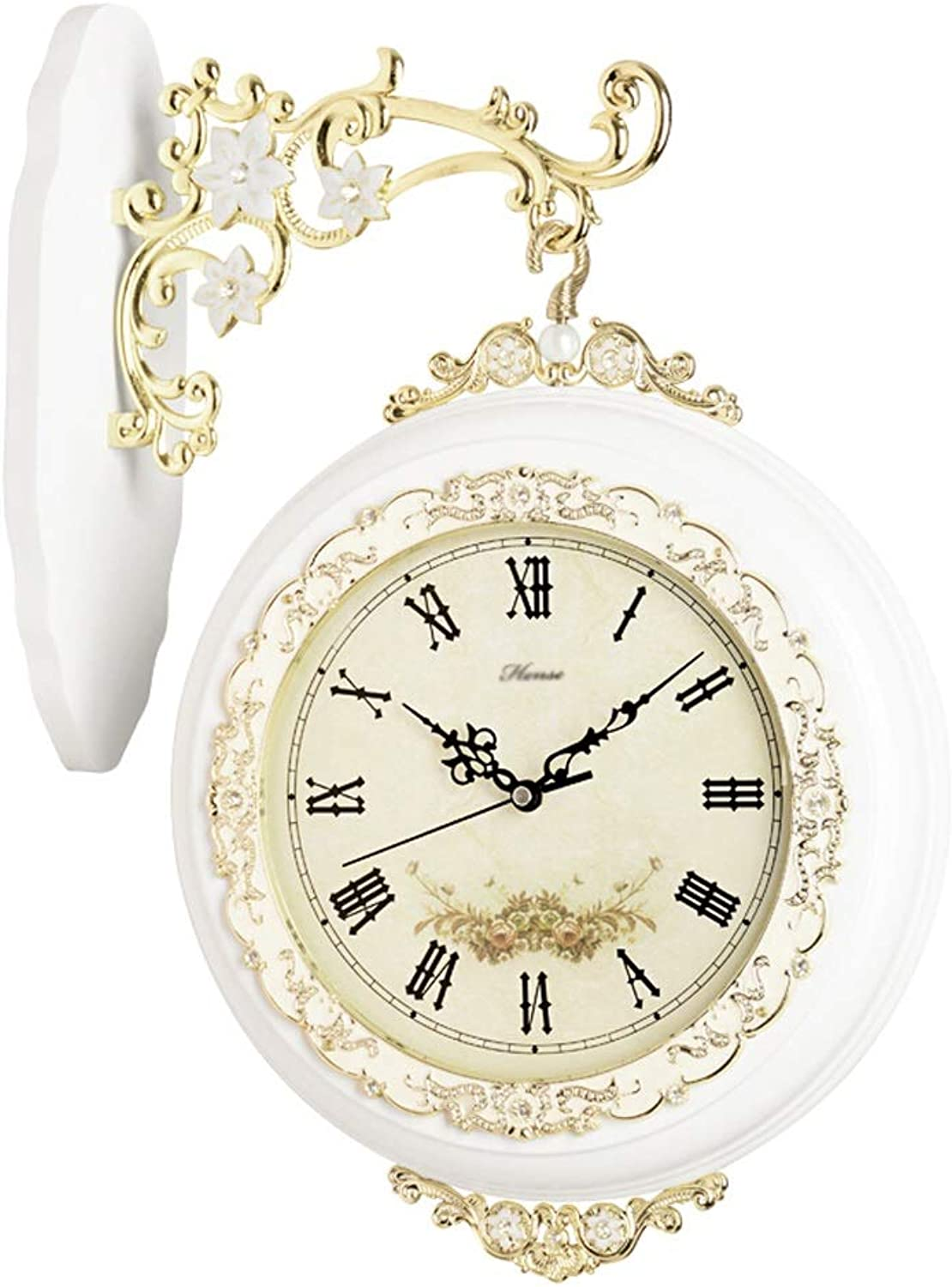 YONGMEI Wall Clock - Living Room Double-Sided Wall Clock European Mute Clock Fashion Creative Clock Modern Two-Sided Wall Clock Classic Quartz Clock (color   White, Size   31.2cm)