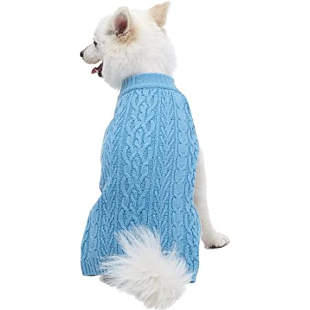 """Blueberry Pet Classic Wool Blend Cable Knit Pullover Dog Sweater in Alaskan Blue, Back Length 20"""", Pack of 1 Clothes for Dogs"""