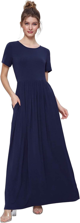 Weintee Women's Short Sleeves Maxi Dress with Pockets