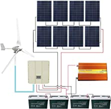 ECO LLC 1800W Wind Solar System with 8X 100W Solar Panel &3000W Inverter & 48V Wind & Solar Hybrid Controller and 4PCS 12V 100Ah Batteries and 1KW Wind Turbine