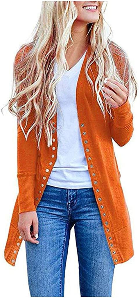 AODONG Cardigan for Women Dressy Long Open Front Knit Sweater Cardigan Long Sleeves Lightweight Coat Tops for Fall