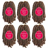 6 Pack Spring Twist Crochet Braiding Hair 8 Inch Bomb Twist Crochet Braids Ombre Colors Low Temperature Kanekalon Synthetic Fluffy Hair Extensions 15 Strands 55g/Pack (8inches, 27#)