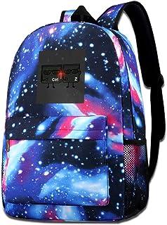 Galaxy bolsa de hombro estampada para hombres en negro Parody Ctrl Z en negro moda casual Star Sky mochila para niños y niñas