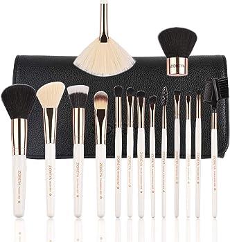Zoreya 15-Piece Premium Luxury Makeup Brushes with Case Bag
