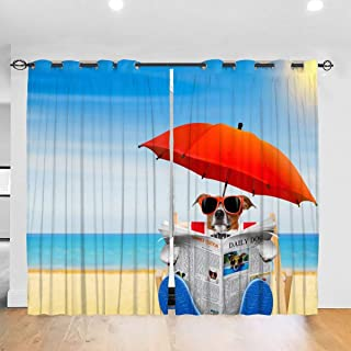 Dog Reading Newspaper On Beach Chair with Sunglasses Design Blackout Curtains for Living Room Bedroom, Thermal Insulated Darkening Window Drapes 2 Panel Set, 52 W x 72 L Inches