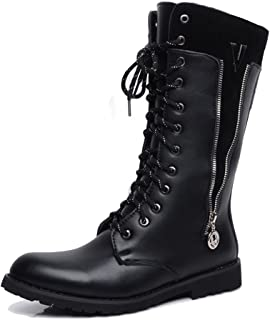XIANYUNDIAN Men's Motorcycle Combat Shoes For Gentlemen Side Zipper Lace Up Boots Leather Upper Mid Calf Combat Winter Boots Military Ankle Boots (Color : Black, Size : 6 UK)