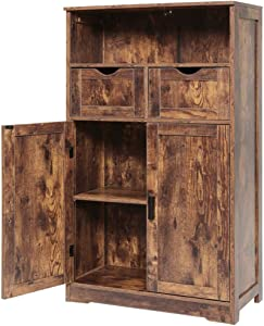 """IWELL Large Storage Cabinet with 2 Adjustable Drawers & 2 Shelf, 42.5""""H x 23.6""""L x 11.8""""W, Floor Storage Cabinet with Double Door, Sideboard, Cupboard for Living Room, Home Office, Rustic Brown"""