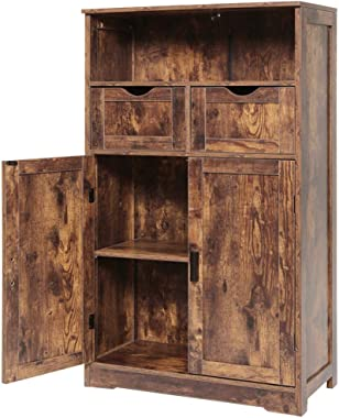 """IWELL Large Storage Cabinet with 2 Adjustable Drawers & 2 Shelf, 42.5""""H x 23.6""""L x 11.8""""W, Foor Bathroom Cabinet, Sideboard,"""