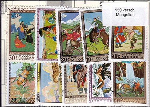 Hermann E. Sieger GmbH   150 Verschiedene Briefmarken \'Mongolei\'  Briefmarken  gestempelt  Verschiedene Motive