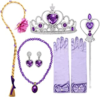 Princess Dress Up Accessories Gift Set for Elsa Crown Scepter Necklace, Earrings, Gloves