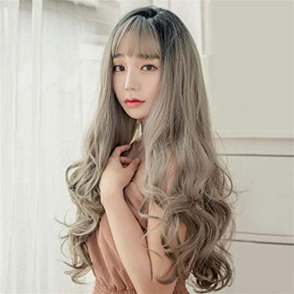 Wig Female Long Curly Hair Big Wave Fluffy Natural Net Red Round Face Korean Air Bangs Wig For Women Qualit Synthetic Wigs With Color Gradually Discoloration 1 Amazon Co Uk Beauty