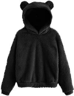 Women's Fall Winter Long Sleeve Warm Cute Bear Ear Hoodie Sweatshirt Casual Fluffy Plush Pullover Top Outwear