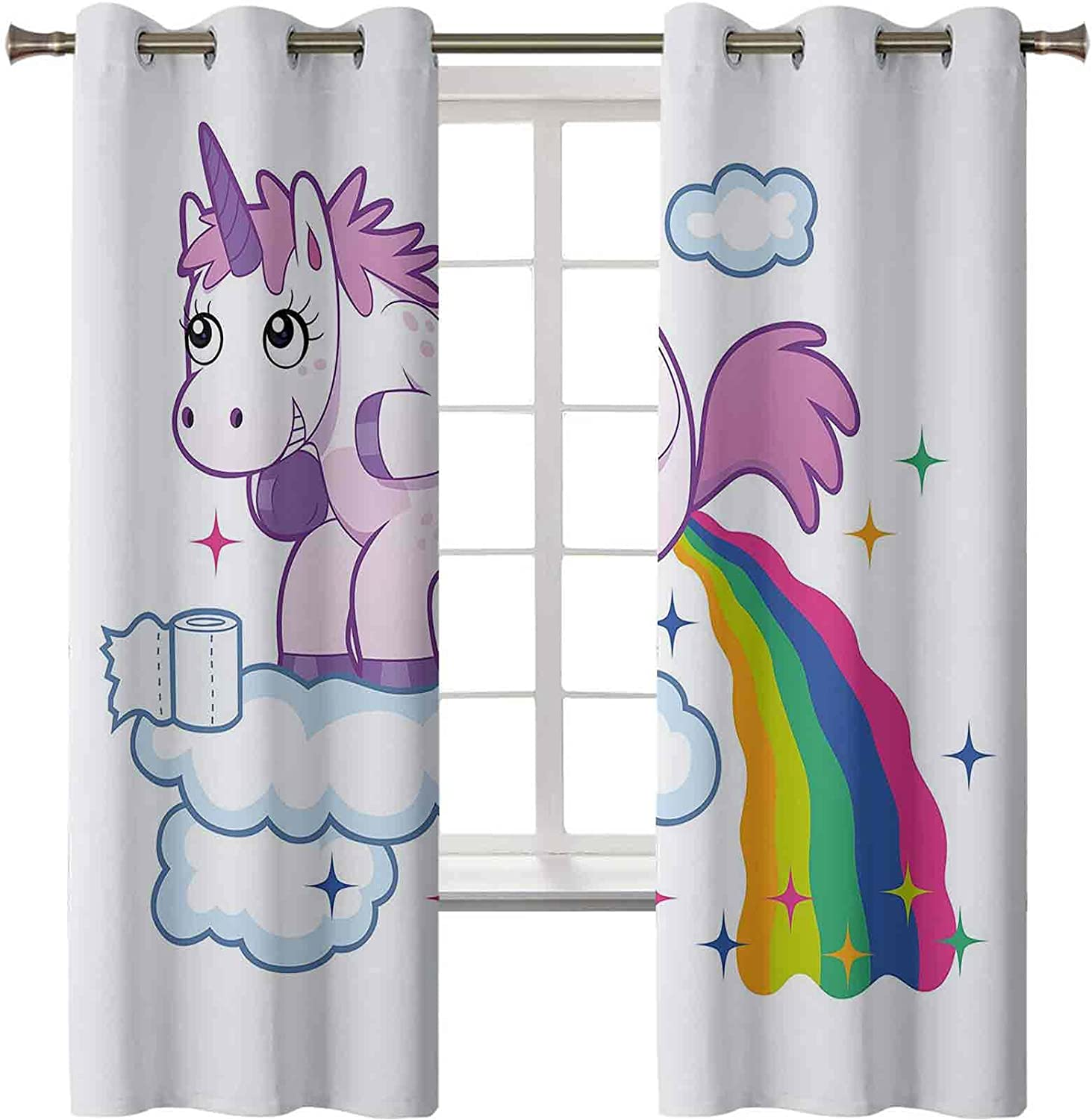 Curtains for Living Room Unicorn Cr Pooping Clouds OFFer Over Rainbow Super intense SALE