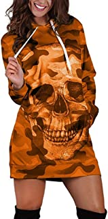 Long Sleeve Gradient Color Skull Print Hooded T-Shirt Sweater Skirt Mini Pullover Dress