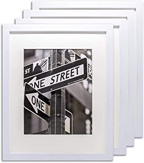 The Display Guys- 4 Sets 16x20 inches White Solid Pine Wood Photo Frame, Tempered Glass with White Core Mat Boards for 11x14 Picture + Collage Mat Boards for 4-5x7 Pictures