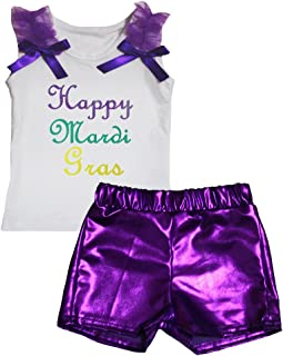 Petitebella Girls' Happy Mardi Gras White Cotton Shirt Bling Short Set