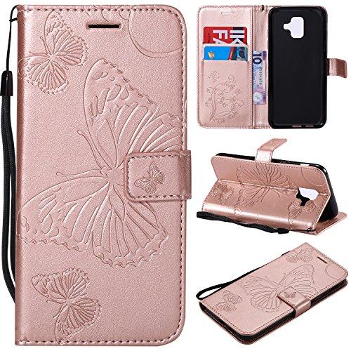 Hülle für Galaxy A6 2018 Hülle Leder,[Kartenfach & Standfunktion] Flip Case Lederhülle Schutzhülle für Samsung Galaxy A6/A600FN - EYKT040162 Rosa Gold