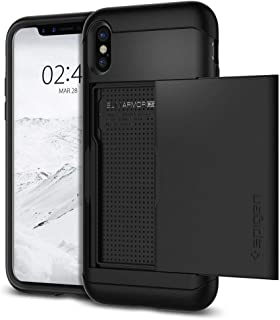 iPhone X Case, Spigen Slim Armor CS with Slim Dual Layer Wallet Design and Card Slot Holder Black