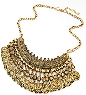 Fashion Bohemian Fine Jewelry Maxi Vintage Choker Collar Statement Necklace Women Coin Tassel Necklaces & Pendants XY-N515 Antique bronze