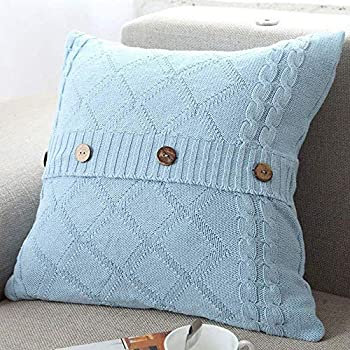 DONEUS Cotton Knitted Pillow Case Cushion Cover Cable Knitting Patterns Square Warm 18  x 18  Throw Pillow Covers for Sofa Couch,Light Blue