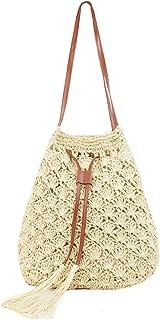 Clara Women Summer Beach Bag Straw Weave Bucket Bag Drawstring Shoulder Bag Tote Bag Handbag Purse