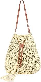 Women Straw Shoulder Bag Handwoven Drawstring Tote Summer Beach Cross Body Purse