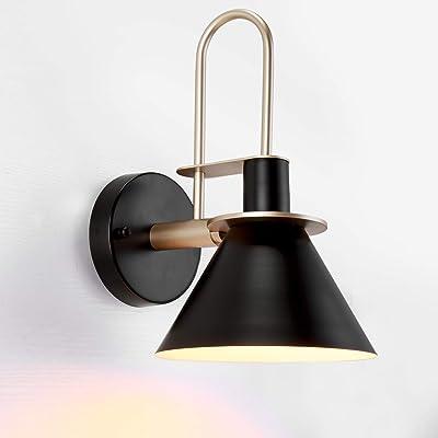 Asvert Applique Murale Nordique Moderne Lampe Chevet Industrielle Vintage en Métal E27 Eclairage Mural Rétro Abat-jour Clairon pour Chambre Miroir Bar Loft Café Restaurent Salon Noir (Sans Ampoule)