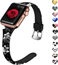 Henva Slim Band Compatible with Apple Watch Band 40mm 38mm 42mm 44mm, Soft Silicone Replacement Thin Wristband with Print Pattern for iWatch Series 5, Series 4, Series 3, Series 2, Series 1, S/M M/L