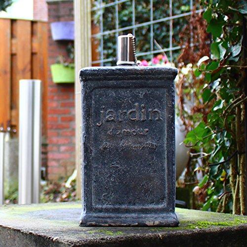 dszapaci Outdoor Öllampe Stein Garten Fackel Öl Party Event Beton Feuerkugel Rund mit Docht Stein Gartendeko Terrasse Draussen (B1)