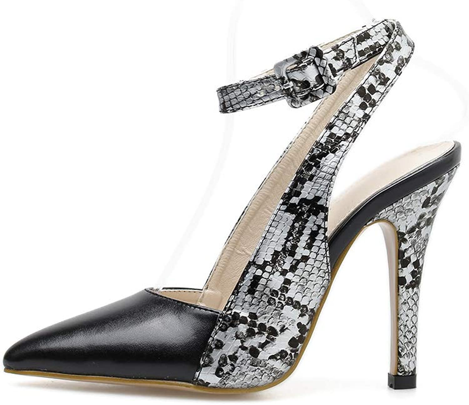Women's high Heels - Pointed high-Heeled Snakeskin Pattern shoes Shallow Mouth Hollow Women's shoes
