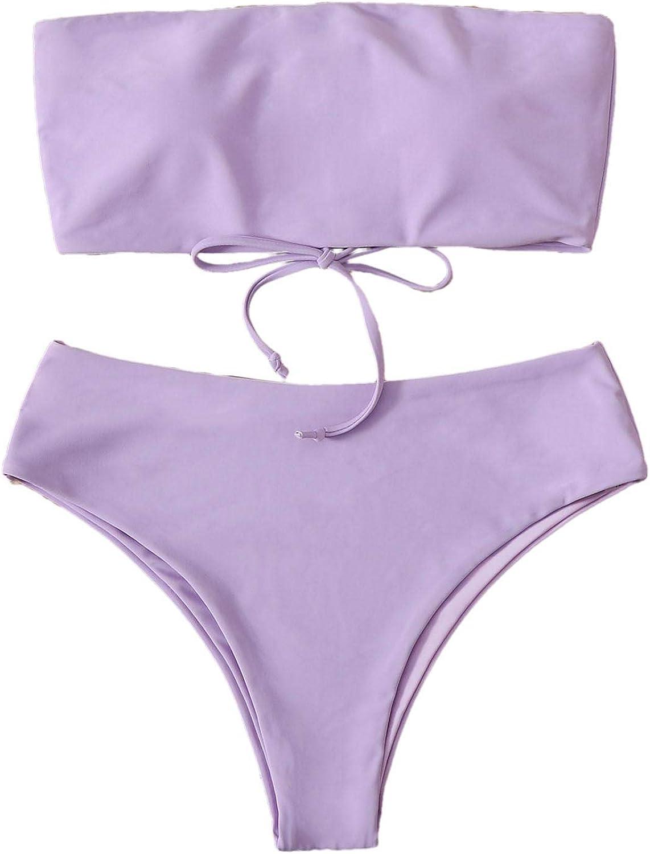 SweatyRocks Women's Strapless Bathing Suit Lace Up Bandeau Bikin