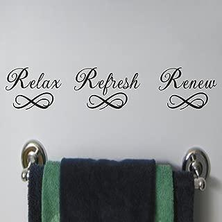MoharWall Relax Refresh Renew Quote Sink Decals Bathroom Vinyl Art Wall Spa Sticker Mirror Decor