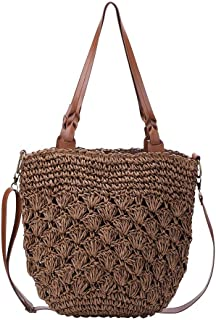 Prosperveil Womens Straw Cross Body Bag with Leather Handles Summer Beach Woven Floral Straw Handbag Shoulder Tote Bags (Brown)