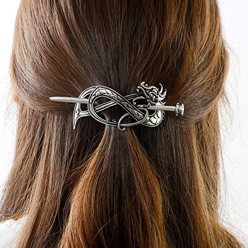 Viking Celtic Hair Clip Hairpins- Viking Hair Accessories Dragon Hair Barrettes Long Hair Pin Hair Sticks Irish Hair Decor for Long Hair Jewelry Braids Hair Clip With Stick