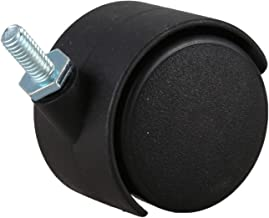 FANERS 6mm schroefdraad stam 40mm dubbel wiel draaibare zwenkwiel zwart