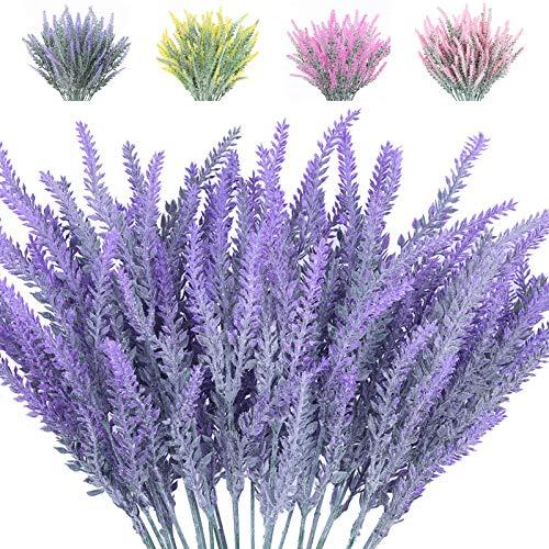 6 Bunches of Artificial Flowers Artificial Lavender Flowers, Flocking Lavender Bouquets, Wedding Eternal Flowers, Purple Lavender Silk Flowers, Flower Plants Home Garden Decoration (Purple)