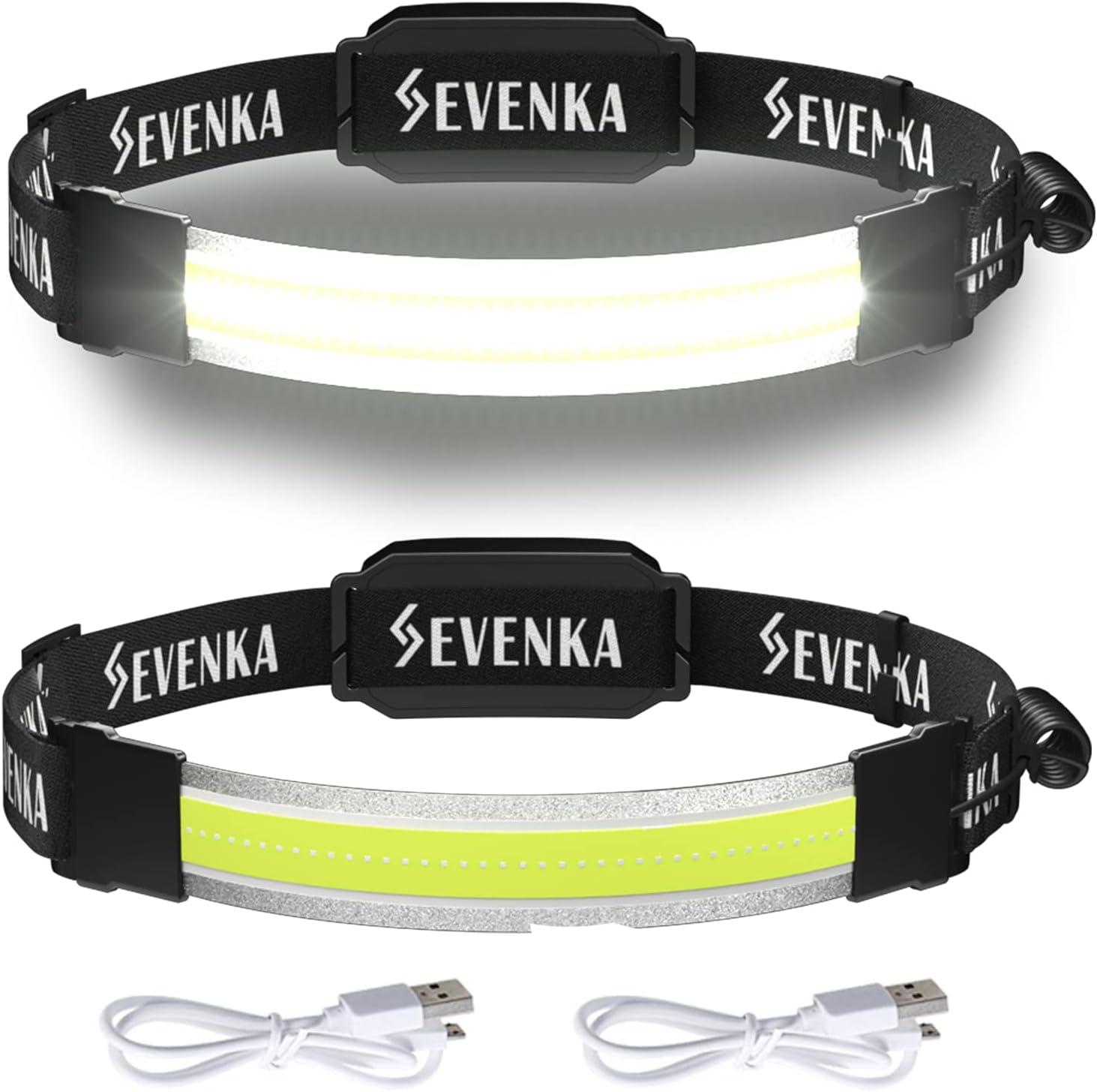 2 Rechargeable Headlamps, SEVENKA Bright LED Headlamp Flashlight