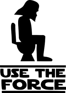 Apollo's Products Use The Force -with Darth Vader Head - Funny Bathroom (Becomes a Sign After You Install it) Toilet/Bathroom/Restroom - Vinyl Wall Decals [Child Friendly] (6 X 8 Inches)