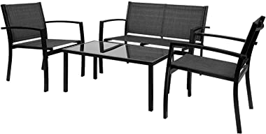 Greesum 4 Pieces Patio Furniture Set, Outdoor Conversation Sets for Patio, Lawn, Garden, Poolside with A Glass Coffee Table,