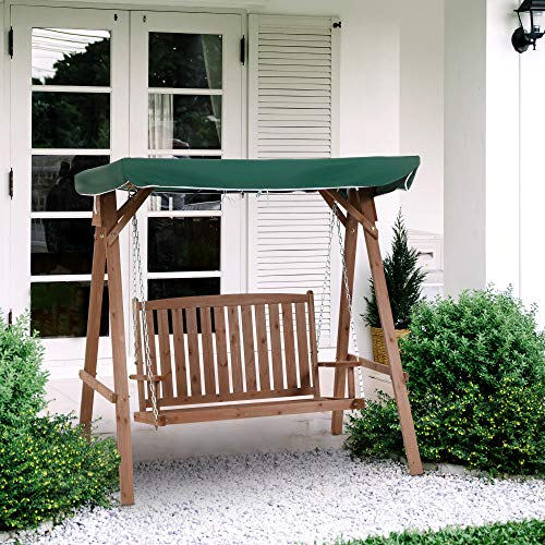 Outsunny Gartenschaukel für 2 Personen, Hollywoodschaukel, Schaukelbank mit Dach, Massivholz, Grün, 160 x 120 x 165 cm - 3