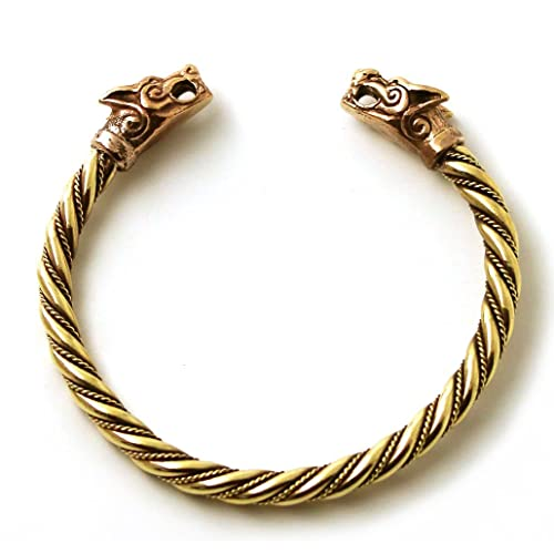 1a938139c74d0 LynnAround Bronze Norse Viking Fenrir Wolf Head Twisted Cable Bangle Cuff Bracelet  Arm Ring Pagan Jewelry