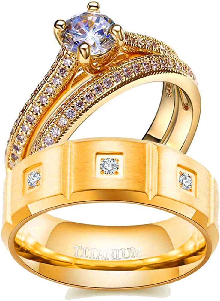 Two Rings His and Hers Couple Ring Bridal Set His Hers Women 3pc