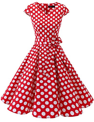 Dresstells Vintage 50er Swing Party kleider Cap Sleeves Rockabilly Retro Hepburn Cocktailkleider Red White Dot S
