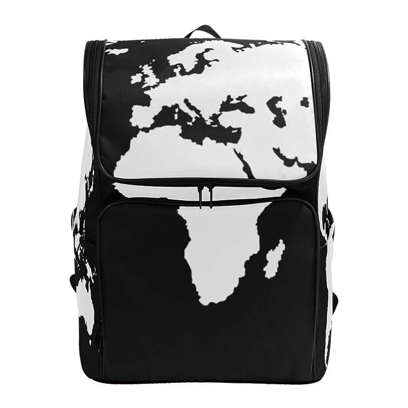 レルム断言する真実にマキク(MAKIKU) リュックサック 大容量 世界地図 柄 マップ ホワイト ブラック リュック 軽量 メンズ 登山 通学 通勤 旅行 プレゼント対応