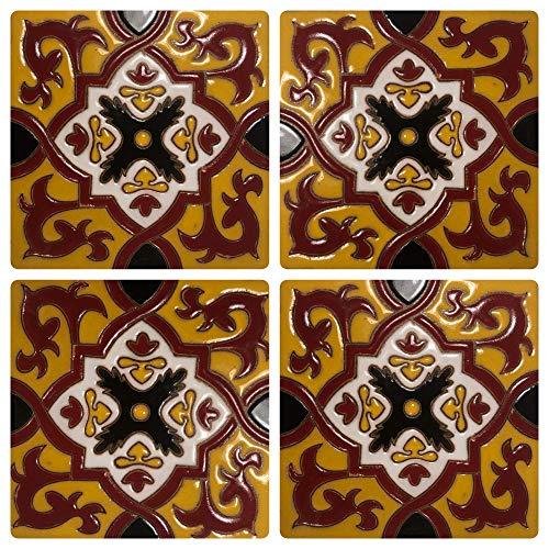 Ceramic Talavera Relief Tile 4 Pieces 6x6