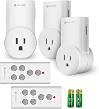 Etekcity Remote Control Outlet Kit Wireless Light Switch for Household Appliances, Unlimited Connections, Up to 100 ft. Range, FCC, ETL Listed, White (Learning Code, 3Rx-2Tx)