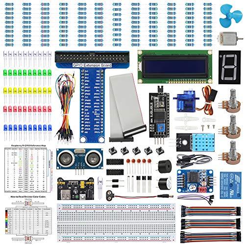 WayinTop Basic Starter Kit für Raspberry Pi 4 B 3 B+, Ausführliche E-Book Anleitung, Python C Java, Elektronische Komponente Basic Starter Kit für Raspberry Pi zum Lernen Elektronik und Programmierung