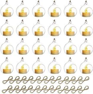 Sziqiqi Glass Tea Lights Candle Holder with LED Candle, Wedding Ornament Set, Hanging Glass Globe Candle Holder, Wedding B...