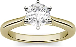 14K Yellow Gold Moissanite by Charles & Colvard 7.5mm 6 Prong Solitaire Ring, 1.50ct DEW