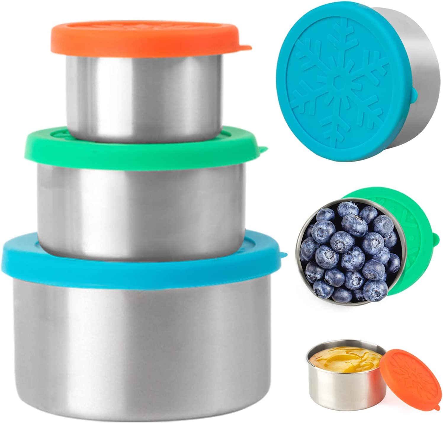 Stainless Steel Food Containers with Lids, KARYHOME Set of 3 Reusable Snack Containers (110 ml, 220ml, 400ml), Leakproof Silicone Lids, Metal Food Storage Containers for Snack, Lunch, Bento, Sauce